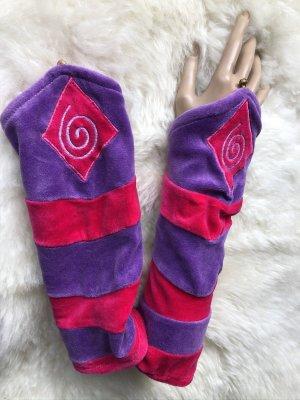 handmade Manchetten blauw-paars-roze Fluweel