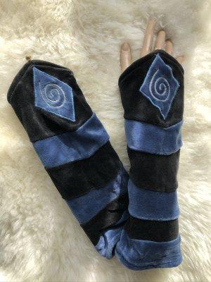 handmade Manchetten zwart-korenblauw Fluweel