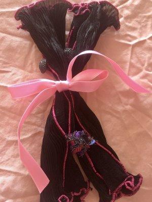 Unbekannte Marke Evening Gloves black-magenta mixture fibre