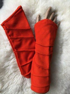 Stulpen Pulswärmer Fleece orange Ziernähte Länge 29 cm asymmetrischer Schnitt