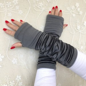 Ohne Legwarmers black-grey cotton