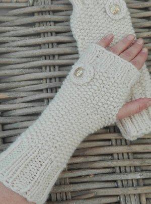 Handmade Guantes sin dedos blanco puro