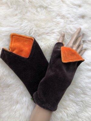 handmade Manchetten donkerbruin-oranje Fluweel
