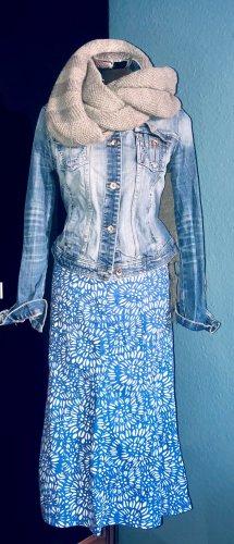 Linnen rok wit-korenblauw