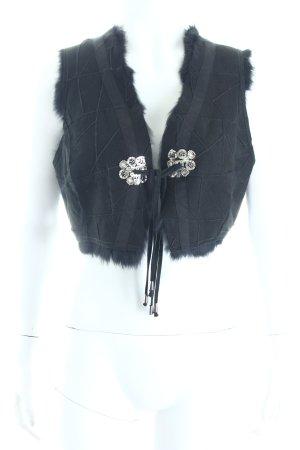 Style & Butler Fellweste schwarz abstraktes Muster Animal-Look