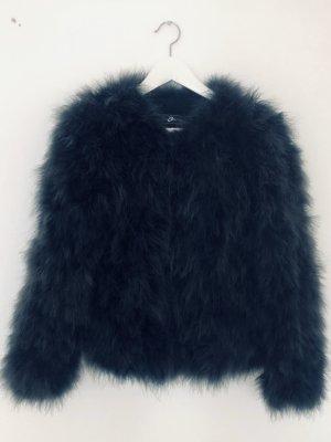 Style & Butler Jacke Federn Marabu Dunkelgrau/ Blau Gr. 38