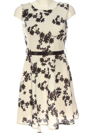 STYLEBOOM A-Linien Kleid creme-schwarz Allover-Druck Elegant
