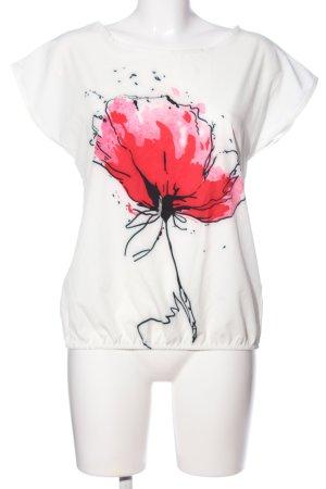 STYLEBOOM Kurzarm-Bluse weiß-rot Blumenmuster Casual-Look