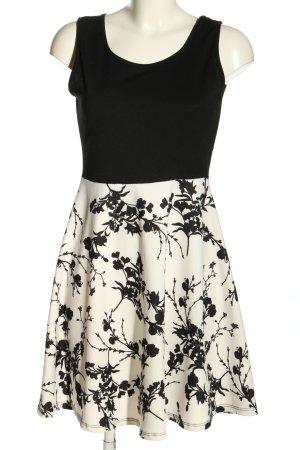 STYLEBOOM Minikleid schwarz-weiß Blumenmuster Elegant