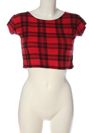 StylePLUS T-shirt court rouge-noir motif à carreaux style décontracté