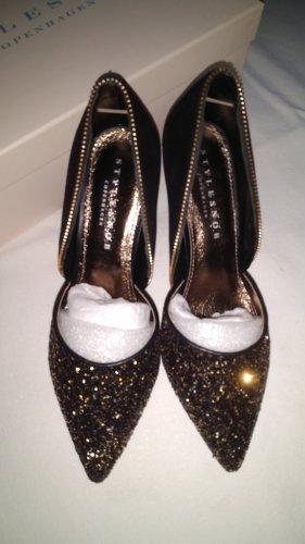 Stylesnob Pumps/High Heels Gr 36 Schwarz Gold und Glitzer Neu