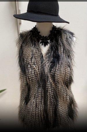 H&M Vest van imitatiebont zwart-zilver