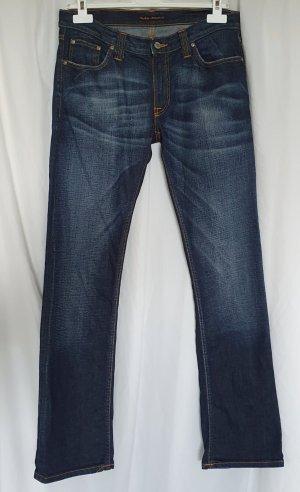 Nudie jeans Straight Leg Jeans blue-cornflower blue cotton