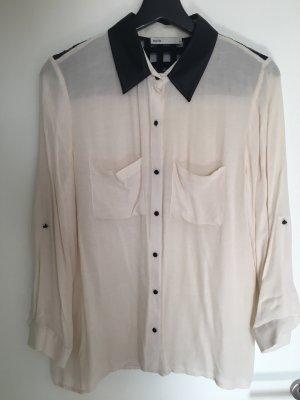 Skórzana bluzka czarny-biały