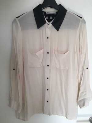 Leather Blouse black-white