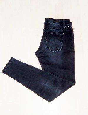 Stylische dunkelgraue Jeans (mit Nieten, leichter used-Look, Gr. 38/30, Sadie superslim fit) - Wie neu!