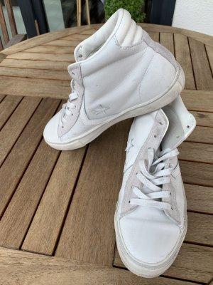 Converse Wysokie trampki biały-jasnoszary Skóra