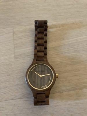 Fesch & Fair Analoog horloge donkerbruin-goud Hout