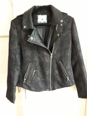 Pepe Jeans London Chaqueta de motociclista negro-caqui tejido mezclado