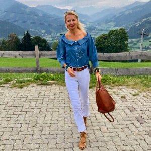 Blouse en jean bleu azur tissu mixte