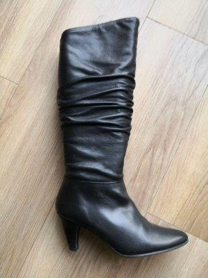 Stylische Leder Stiefel mit Raffungen – Buffalo – schwarz  – 39 – NP170€