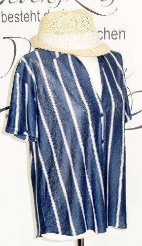 Massimo Dutti Blouse en lin bleu-blanc lin