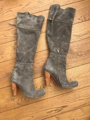 Fersengold Botas sobre la rodilla marrón grisáceo