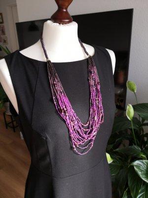 Collier de perles multicolore tissu mixte