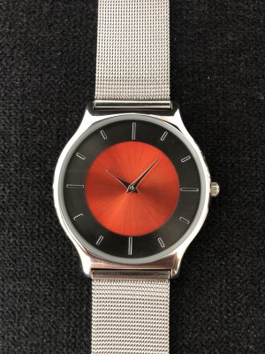 Montana Watch With Metal Strap silver-colored-red