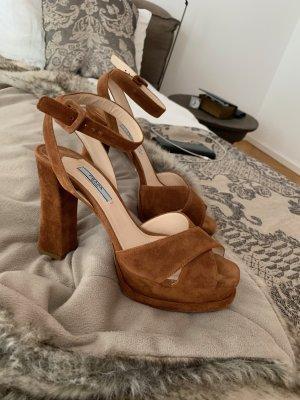 Prada Platform High-Heeled Sandal cognac-coloured leather