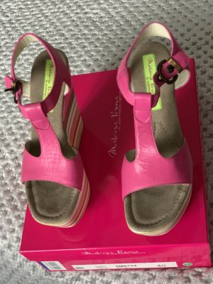 Wedge Sandals pink leather