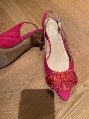 Scho Shoes Milano Slingback Pumps neon red leather