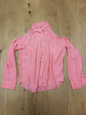 Stylische Sommerbluse/ Shirt 100% Seide rosa Open shoulder v Sack's Gr. 38-40/M-L