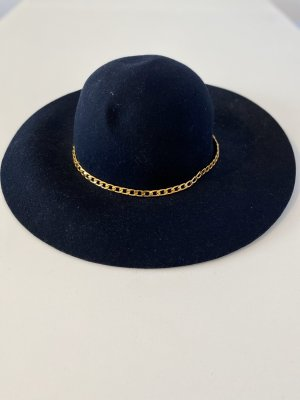 Chapeau en feutre bleu foncé-doré feutre