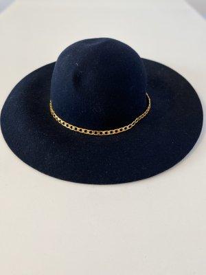Vilten hoed donkerblauw-goud Vilt
