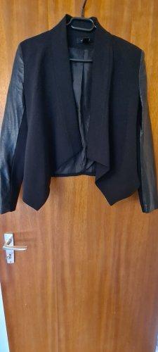 Amisu Blazer in pelle nero Tessuto misto
