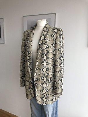 Zara Basic Blazer stile Boyfriend beige chiaro-nero