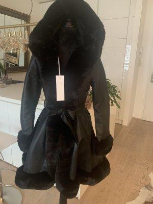New J Futrzany płaszcz czarny