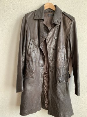 IKKS WOMEN Leather Coat dark brown