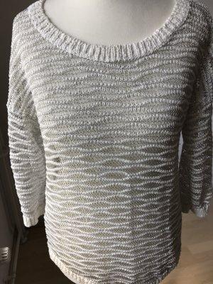 Mango Sweter z okrągłym dekoltem biały-szary