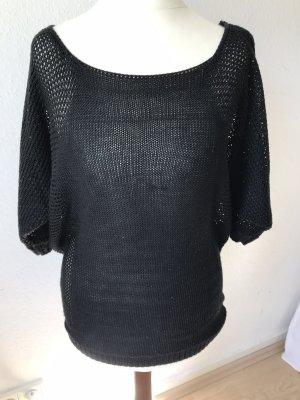 Amisu Sweter z krótkim rękawem czarny