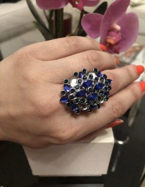 1.2.3 Paris Bague incrustée de pierres argenté-bleu