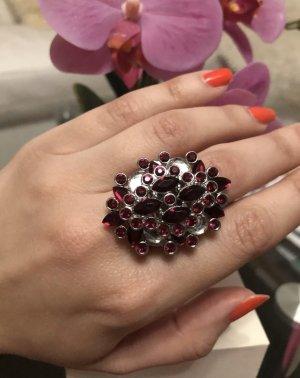 100 Anello di fidanzamento argento-rosso scuro