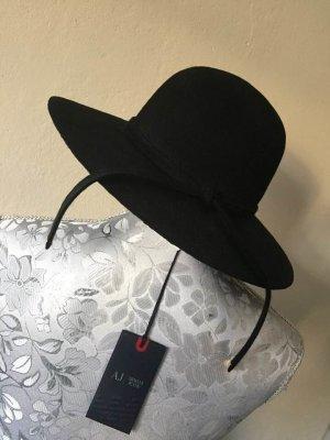 Armani Jeans Sombrero de fieltro negro-color plata Lana