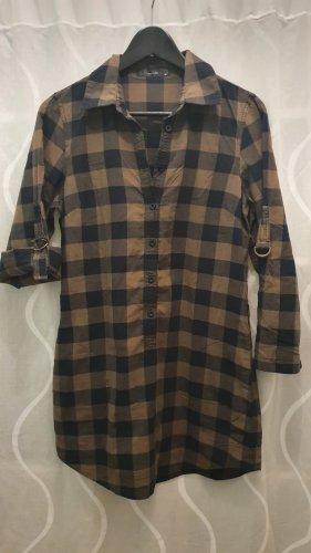 Hallhuber Koszulowa sukienka czarny-oliwkowy Bawełna