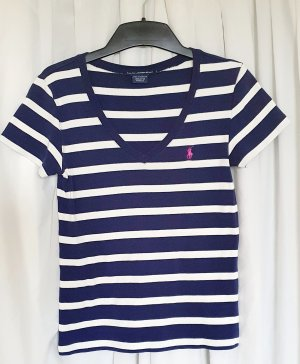 Stylisches Shirt von Ralph Lauren Sport im frischen angesagten Maritim-Look, weiß-navy gestreift in Größe L