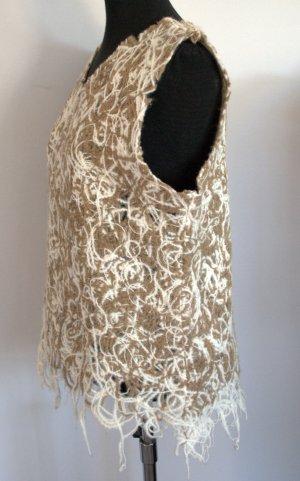 Jersey sin mangas blanco-beige tejido mezclado