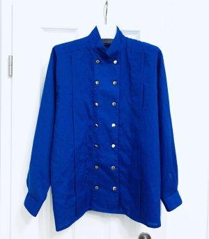Stylisches Vintage blaues Damen Oberteil/ Bluse/ Hemd Schurwolle Gr. 38/ M