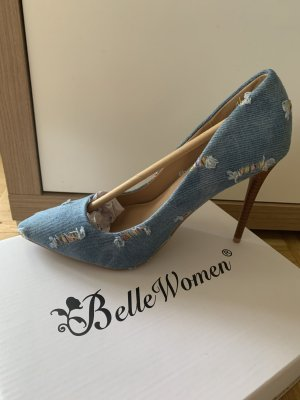 Stylish! Destroyed Stilettos/Pumps - LightBlue - Größe 36 - JeansOptik! NEW