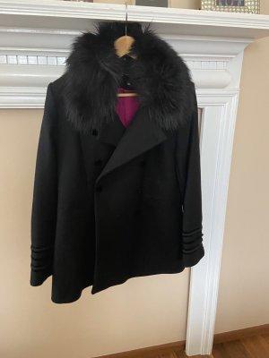 Zara Fake Fur Jacket black-raspberry-red